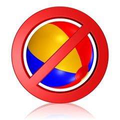 Spielen verboten, Wasserball mit Verbotszeichen
