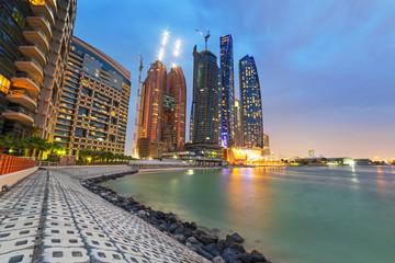 Skyscrapers of Abu Dhabi at night, United Arab Emirates