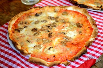 Pizza Quattro Formaggi With Mushrooms