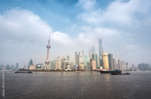 shanghai skyline with cloudscape