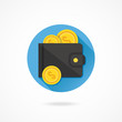 Vector Wallet and Gold Coins Icon