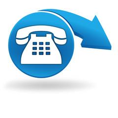 téléphone sur bouton bleu