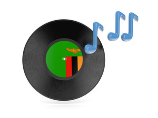 Vinyl disk with flag of zambia