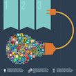 Light bulb with Knowledge infographics, vector format