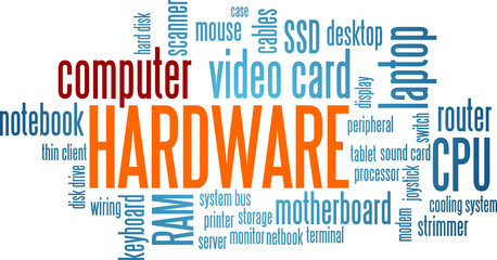 Computer Hardware Word Cloud Bubble Tag Tree Vector