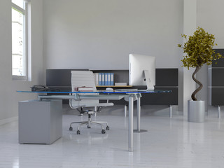 Office interior with desk