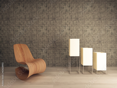 Wooden lounge chair against mosaic pattern wall