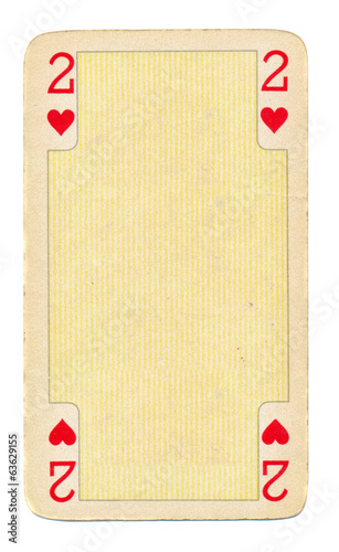 vintage playing card  with hearts background