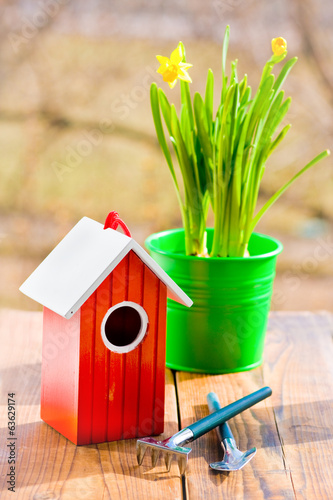 Red bird house and Narcissus in green pot and shovel in spring