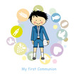 First Communion boy. Invitation Card