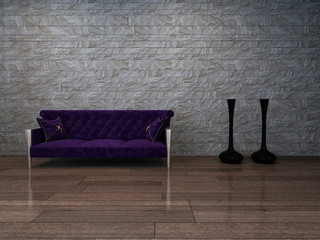 ..Baroque style violet canapee against stone wall