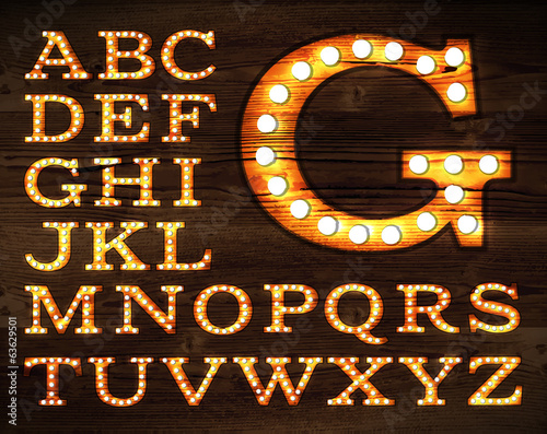 Vector of letters in retro style old lamp alphabet for light