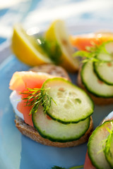 Canapes with smoked salmon, fresh cucumber and dill