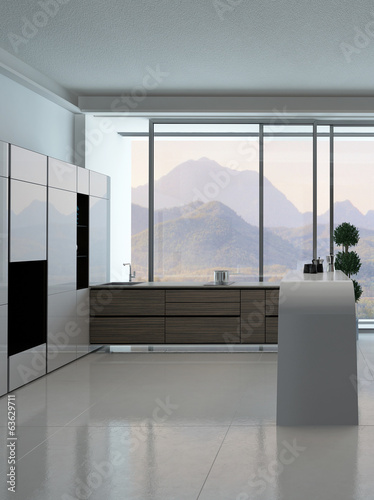 ..Modern kitchen interior with landscape view