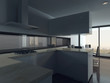 ..Modern kitchen interior with dining table setting