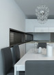 Modern kitchen interior with dining table setting