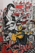 Anonymous graffiti shows singer traditional portuguese fado.