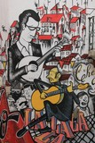 Anonymous graffiti shows singer traditional portuguese fado.