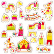 Cute cartoon buildings. Set of children's stickers.