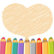 Heart speech bubble with pencils. Light background.