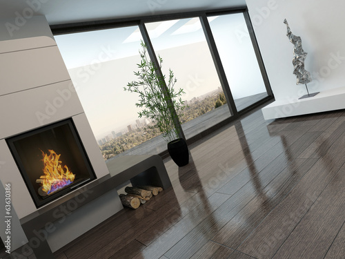 Modern empty room interior with fireplace