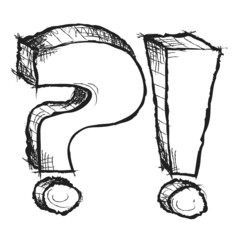 Sketchy hand drawn question and exclamation marks isolated