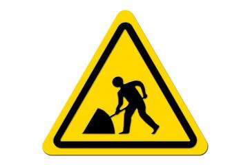 Warnschild Gelb Achtung Baustelle