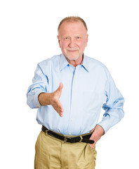 Older happy man giving handshake on white background