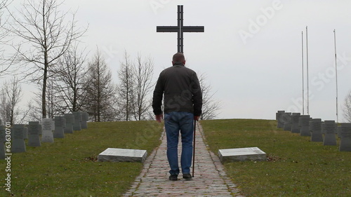 Man with walking  stick in the cemetery