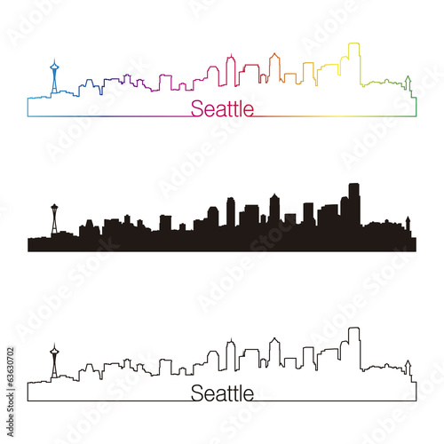 Seattle skyline linear style with rainbow