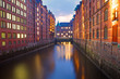 Part of the Speicherstadt in Hamburg at dawn