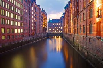 Part of the Speicherstadt in Hamburg at dawn