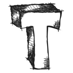 Sketchy hand drawn letter T isolated on white