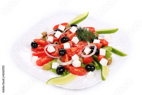 Greek salad in plate.