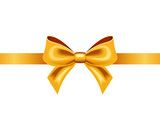 Fototapety Golden ribbon with bow. Vector illustration.