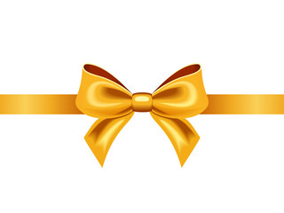 Golden ribbon with bow. Vector illustration.
