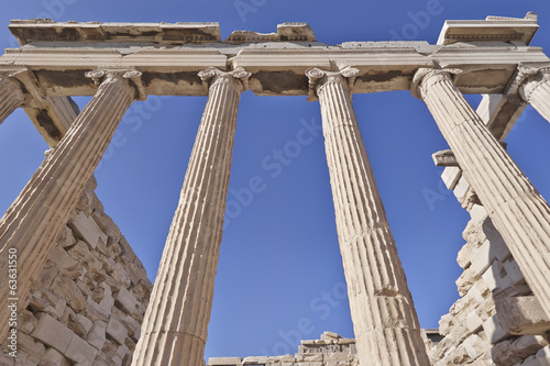 central perspective, ancient greek building, Athens acropolis