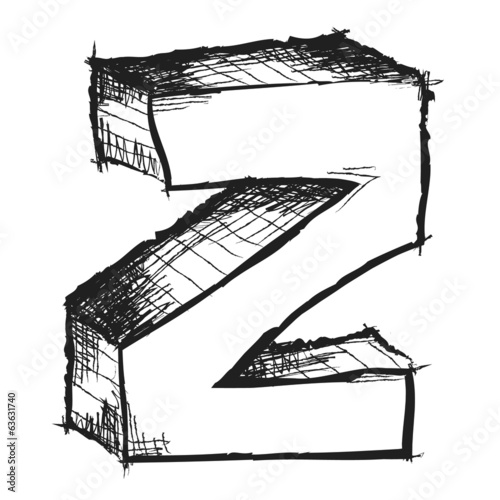 Sketchy hand drawn letter Z isolated on white