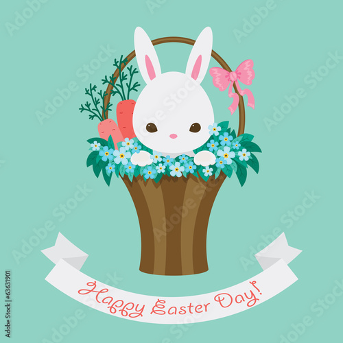 Easter card with white bunny and floral basket