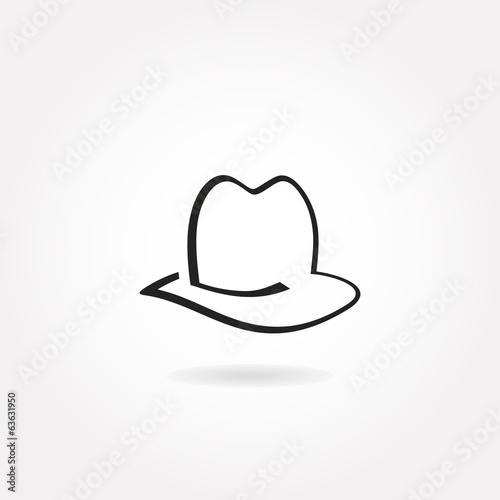 Monochrome minimalistic hat icon