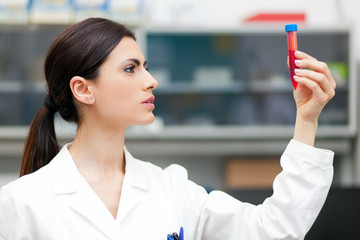 Woman researcher doing a blood test
