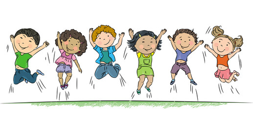 Happy children jumping.