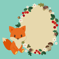 Forest childish frame with cute baby fox