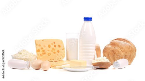 Dairy products, eggs and bread.
