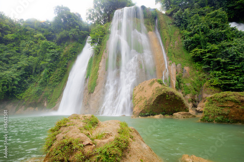 Big Waterfall with green water at Cikaso Indonesia