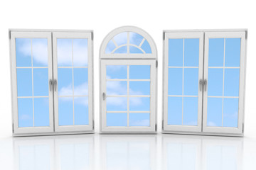 3d closed plastic windows on white background