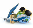3d suitcase, airplane, globe and umbrella