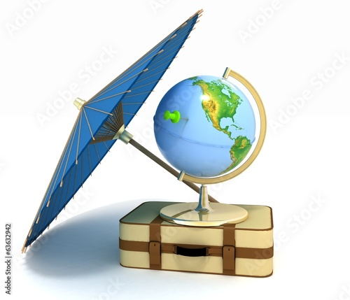 Suitcase, globe and umbrella. Travel and vacation concept