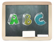 Blackboard with sketchy colorful ABC written on it isolated
