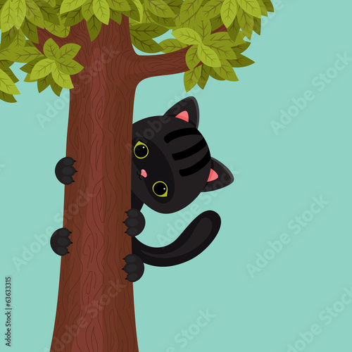 Black kitten on a tree. Vector cartoon illustration